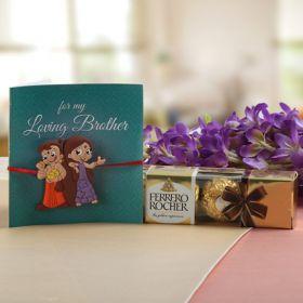 Cartoon Characters Rakhi For Kids With Ferrero Rocher