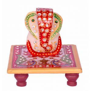 Marble Ganesha On A Chowki