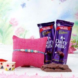 Blue Rakhi With 2 Dairymilk Chocolates
