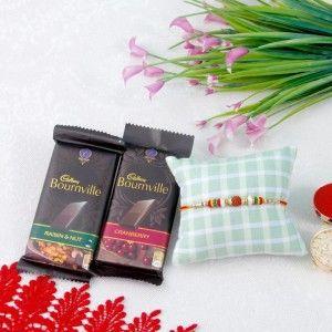 Designer Rudraksh Rakhi With 2 Bournville Dark Chocolates