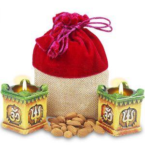 Tulsi Pot Diyas With Dryfruits