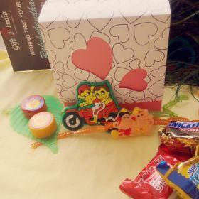 Cartoon Characters Twin Rakhi For Kids With Chocolate Box