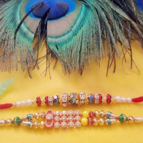 Set of Two Beautiful Beaded Rakhi Thread