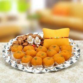 Rakhi   Motichoor Laddu, almonds &Thali