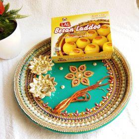 Decorative Puja Thali With Besan Laddoo