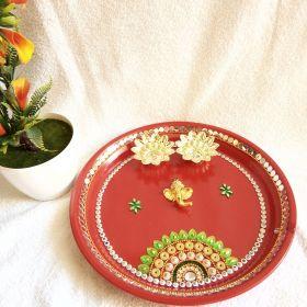 Decorated Steel Puja Thali