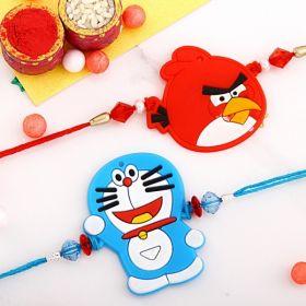 Doraemon And Angry Bird Rakhi Set For Kids