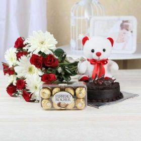Half Kg Chocolate Cake with 15 Mixed Flowers & Ferrero Rocher Box