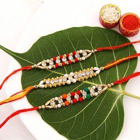 Set of 3 Multicolor Beaded Rakhis