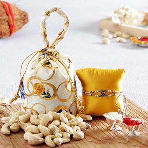 Rakhi with Cashew nuts  Potli