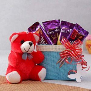 Cadbury Dairy Milk Silk Hamper With Red Teddy